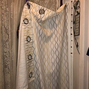 VERY LONG!(APPROX 100 IN) CURTAINS W/GOLD & GREY